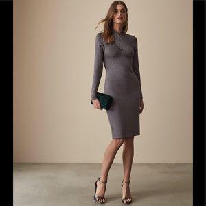 NWT Reiss cross over neck metallic knit dress S